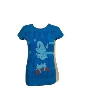 Vintage Sonic The Hedgehog Girls Shirt Blue Sega